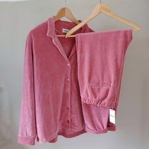 Cyell Dusty Pink Velvet 2 Piece Loungewear Set Size EU 42 US XL